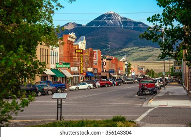 LIVINGSTON, MONTANA, USA - MAY 25, 2013 : Historic centre of Livingston near Yellowstone National Park. Even in the summer time there is snow at the hill behind the city