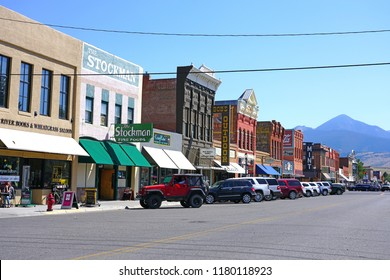 LIVINGSTON, MT –5 SEP 2018- View of downtown Livingston, a town and county seat of Park County, Montana, located on the Yellowstone River, near Yellowstone National Park, United States.