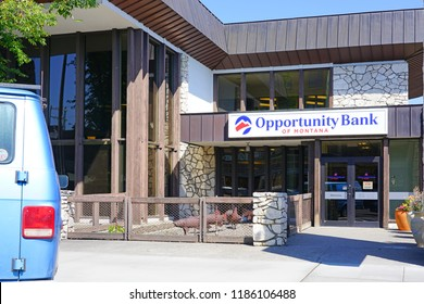 LIVINGSTON, MT –5 SEP 2018- View of a branch of Opportunity Bank of Montana in downtown Livingston, a town and county seat of Park County, Montana, near Yellowstone National Park, United States.