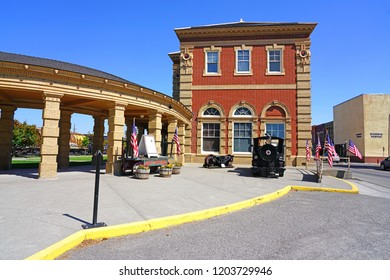 LIVINGSTON, MT –5 SEP 2018- View of the Livingston Depot Center, the historic Northern Pacific Railroad train station in downtown Livingston, located on the Yellowstone River, Montana.