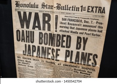 Livingston, MT / USA - June 28 2019: Historical Honolulu star-bulletin newspaper from December 7, 1941 hanging on the wall describing Pearl harbor bombing of OAHU by Japanese planes.