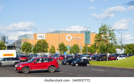 Livingston, Scotland - 21 June 2019: The Centre Livingston Exterior, Look from the car park.
