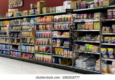 LIVINGSTON, SCOTLAND, UK - APRIL 19, 2018. Cereal aisle view of Asda / Walmart Supermarket.