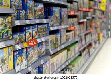 LIVINGSTON, SCOTLAND, UK - APRIL 19, 2018. Asda / Walmart Supermarket. Kids toys on the shelves of the local ASDA supermarket.