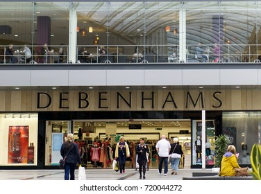 LIVINGSTON, SCOTLAND, UK - AUGUST 18, 2017. Debenhams sign in Livingston shopping center.