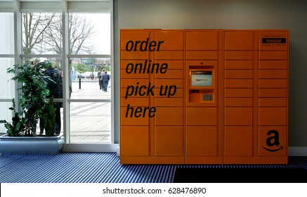 LIVINGSTON, SCOTLAND, UK - MARCH 8, 2017. Amazon online pick up locker at Livingston Designer Outlet, Livingston, Scotland, UK.