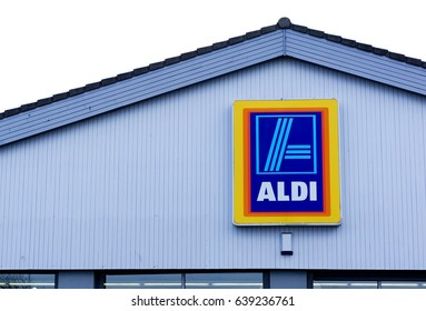 LIVINGSTON, SCOTLAND, UK - MAY 11, 2017. The sign outside of Aldi Supermarket.