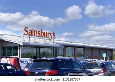 LIVINGSTON, SCOTLAND, UK - MAY 16, 2018. The outside of Sainsbury's Supermarket.