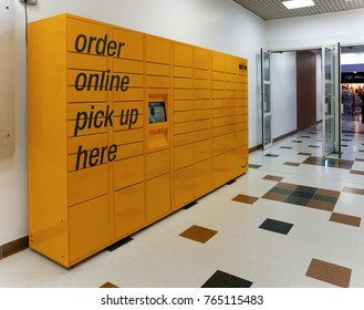 LIVINGSTON, SCOTLAND, UK - NOVEMBER 23, 2017. Amazon online pick up locker at The Centre Livingston, Scotland, UK.
