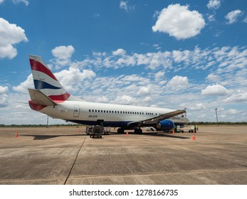 LIVINGSTON, ZAMBIA - NOVEMBER 24, 2018. Boeing 737-436 British Airways (Comair) on Harry Mwanga Nkumbula International Airport in Livingstone, Zambia, Africa