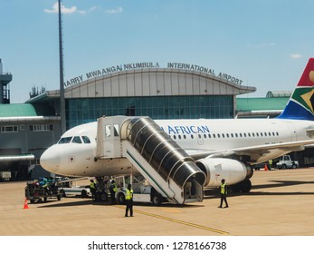 LIVINGSTON, ZAMBIA - NOVEMBER 24, 2018. Harry Mwanga Nkumbula International Airport in Livingstone, Zambia, Africa
