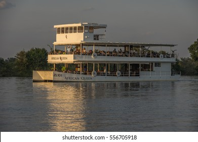 Livingstone Zambia 1 April 2016 Boating tours on the Zambezi River at Victoria Falls is a highlight for tourist visiting the world famous Landmark