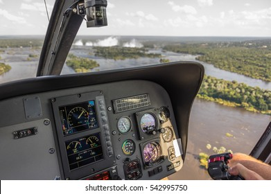 Livingstone Zambia 30 March 2016 Helicopter flights over the Victoria Falls in a Airbus EC120 Colibri is a highlight for tourist visiting the world famous Landmark