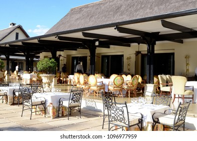 Livingstone, Zambia, Africa. July 2014. The outdoor dining section of the Royal Livingstone Hotel in Zambia.