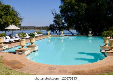 Livingstone, Zambia, Africa. June 2014. The swimming pool at the Royal Livingstone Hotel in Zambia.
