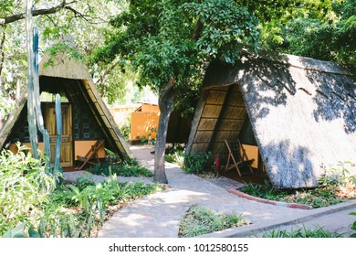 LIVINGSTONE, ZAMBIA - CIRCA NOVEMBER 2017: Bungalows - African style, of a hostel in Livingstone, Zambia.