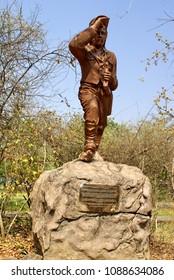 LIVINGSTONE, ZAMBIA - CIRCA SEPTEMBER 2012: Statue of David Livingstone in the park by Victoria Falls