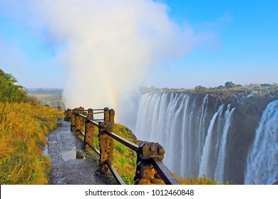 Livingstone - Zambia / July 2017: view of Victoria Falls  at Zambia side, one of most iconic African natural landmarks
