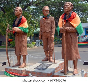 LIVINGSTONE ZAMBIA OCT. 14 2014: Statue of Livingstone and faithful servants Chuma and Susi Harry Mwaanga Nkumbula in front of Livingstone airport Zambia