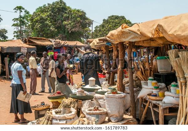 LIVINGSTONE, ZAMBIA - OCTOBER 9, 2012 - People in the market in Livingstone City in Zambia .