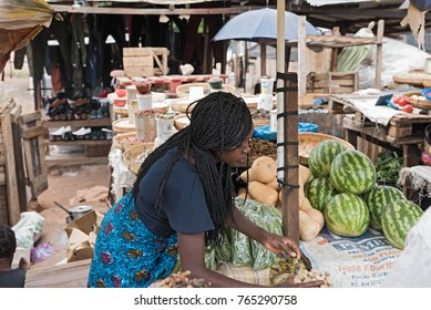 LIVINGSTONE, ZAMBIA-NOVEMBER  23, 2017: market stalls and saleswoman in Livingstone, Zambia