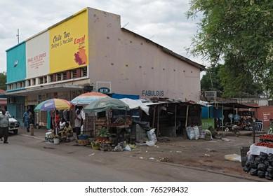 LIVINGSTONE, ZAMBIA-NOVEMBER  23, 2017: market stalls and sellers in Livingstone, Zambia
