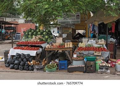 LIVINGSTON,ZAMBIA-NOVEMBER 23; 2017: market stalls in Livingstone, Zambia