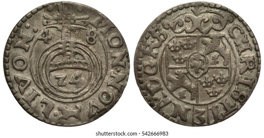 Livonia Livonian silver coin 1/24 one twenty fourth of a thaler 1648, Riga, Swedish administration, cross of the orb divides date, mintmark dog, shield with lions, Swedish crowns, ruler Christina,