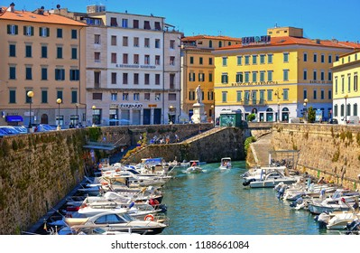 Livorno, Italy 15.07.2016.Picturesque district Venezia Nuova in Livorno with colorful old buildings and boats. The city port on the Ligurian Sea is one of the largest seaports in the Mediterranean Sea