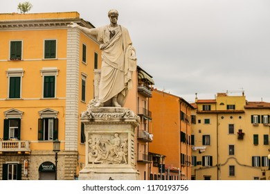 Livorno, Italy - 2018. The statue of Grand Duke Ferdinand III on Piazza della Republica in Livorno, Italy. Livorno is one of the small coastal fortresses protecting Pisa.