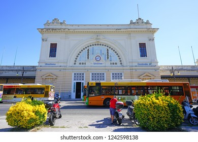 LIVORNO, ITALY -30 SEP 2018- View of the Livorno Centrale railway station located on Piazza Dante in Livorno, a port city on the Ligurian Sea in Tuscany, Italy.