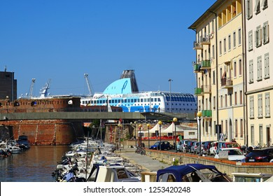 LIVORNO, ITALY -30 SEP 2018- View of the landmark area of Venezia Nuova located along water canals in Livorno, a port city on the Ligurian Sea in Tuscany, Italy.