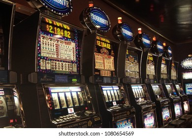 LIVORNO, ITALY - APR 23, 2018 -Slot machines of the casino on a cruise ship in  Livorno, Italy