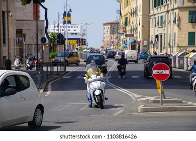 LIVORNO, ITALY - APR 23, 2018 - Motorcycle on a street in Livorno, Italy