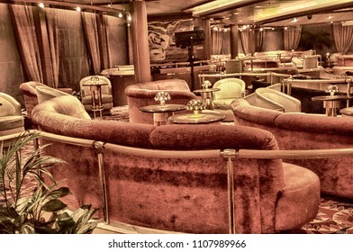 LIVORNO, ITALY - APR 23, 2018 - Comfortable  chairs and lounge on a cruise ship in  Livorno, Italy