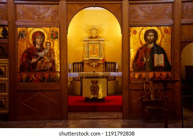LIVORNO, ITALY - APR 23, 2018 - Golden altar icons in the Church of the Purification, Livorno, Italy