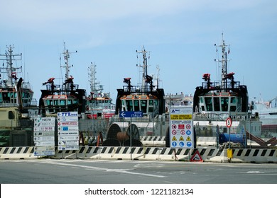 LIVORNO, ITALY - APR 23, 2018 - Fireboats docked in the marina of Livorno, Italy