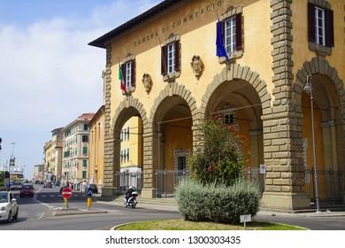 LIVORNO, ITALY - APR 23, 2018 - Loggia of the Chamber of  Commerce, Livorno, Italy