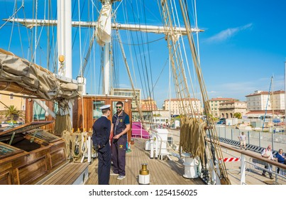 LIVORNO, Italy - april 28, 2018: the Nave Italia ship of the Italian navy with ropes and equipment on the bridge on the port of Livorno, Tuscany.  Nave Italia is the biggest sailing brig in the world.