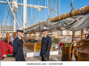 LIVORNO, Italy - april 28, 2018: Nave Italia ship of the Italian navy with ropes and equipment on the bridge on the port of Livorno in Tuscany. Nave Italia is the biggest sailing brig in the world.