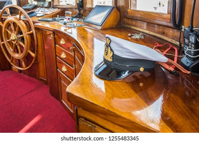 LIVORNO, Italy - april 28, 2018: Hat naval officer of Nave Italia. Nave Italia is the biggest sailing brig in the world. Port of Livorno, in Tuscany, Italy