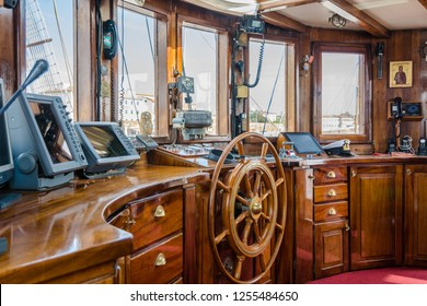 LIVORNO, Italy - april 28, 2018: instruments for marine navigation in the captain's cabin. Nave Italia is the biggest sailing brig in the world. Port of Livorno, in Tuscany, Italy.