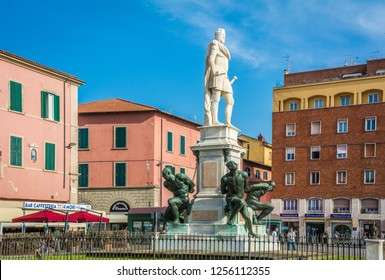 LIVORNO, Italy - april 28, 2018: the Monument of the Four Moors in Livorno, Italy. It is dedicated to Grand Duke Ferdinando I de Medici of Tuscany. The statue with black African characteristics