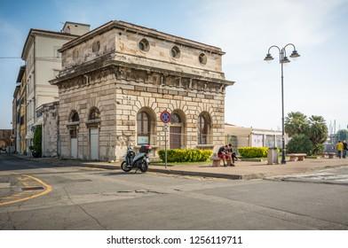 LIVORNO, Italy - april 28, 2018: historic building near the port of Livorno, Tuscany, Italy