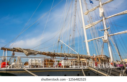 """LIVORNO, Italy - april 28:  2018: """"NAVE ITALIA"""" moored at the Port of Livorno,Tuscany, Italy. It is a brigantine, active as a sail training vessel for the Italian Navy."""