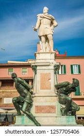 LIVORNO, Italy - april 28, 2018: the Monument of the Four Moors in Livorno, Italy. It is dedicated to Grand Duke Ferdinando I de Medici of Tuscany.the statue with black African characteristics