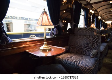 LIVORNO, ITALY - February 23, 2019:  The legendary Venice Simplon Orient Express under maintenance  in the sheds of the Mida factory