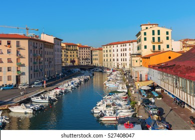 Livorno, Italy - July 01, 2016: picturesque district Venezia Nuova in Livorno. Livorno is a port city on the Ligurian Sea with one of the largest seaports in the Mediterranean Sea