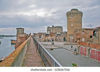 LIVORNO, ITALY - SEPTEMBER 13, 2018: Photo of Tower (Matilda) Matilde. Old fortress (Fortezza Vecchia).