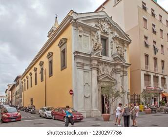 LIVORNO, ITALY - SEPTEMBER 13, 2018: Photo of The Greek Church of St. Annunziata (Chiesa della Santissima Annunziata or Chiesa dei Greci Uniti).
